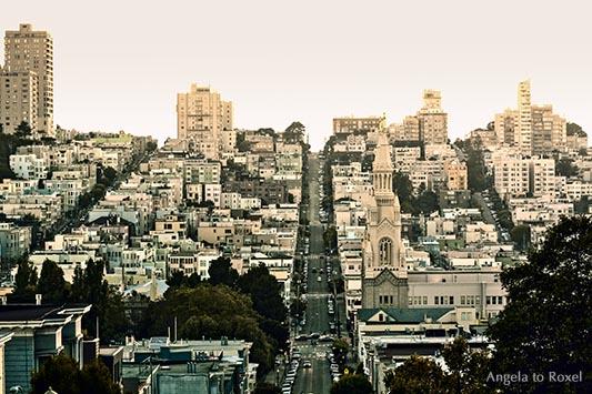 Fotografien kaufen: Russian Hill, Die Straßen von San Francisco nach Sonnenuntergang, Union St., in der Mitte die Filbert St., rechts Greenwich St.