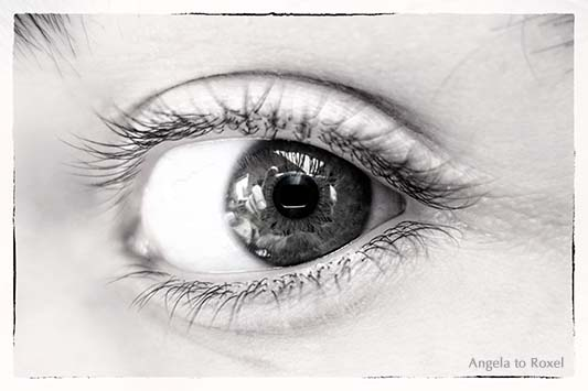 Nahaufnahme eines menschlichen Auges, in dem sich die Kamera spiegelt, schwarzweiß