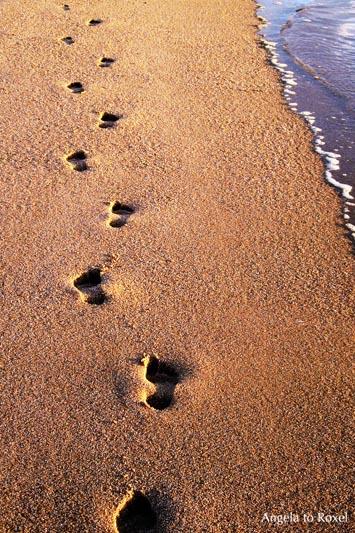 Fußspuren am Strand, Fußabdrücke im Sand, ein Mensch geht und hinterlässt Spuren, Abendstimmung am Strand, Rotes Kliff auf Sylt