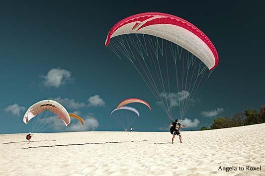 Fünf Paraglider auf der Dune du Pilat beim Küstenstart, Gleitschirmfliegen auf der Düne, Arcachon, Nouvelle-Aquitaine - Frankreich 2012