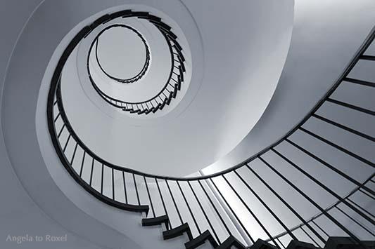 Spiralförmiges Treppenhaus, Wendeltreppe mit Blick nach oben, monochrom