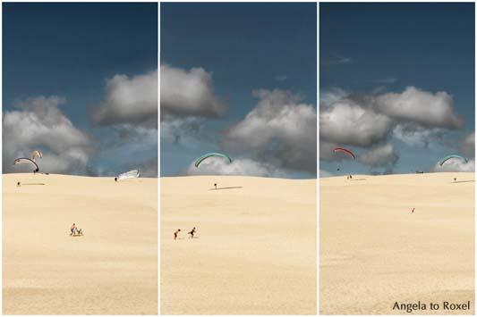 Sechs Paraglider beim Küstenstart auf der Dune du Pilat, Dune du Pyla, vorne Passanten,  Aquitanien