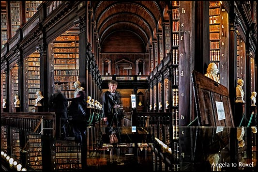 Fotograf im Long Room der Trinity College Library, Langzeitbelichtung, Composing