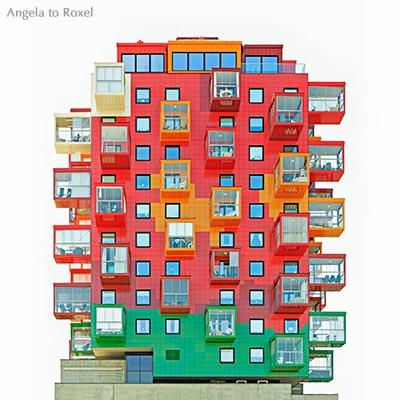 Leuchtend bunter Wohnturm mit glasierten Fassaden-Platten, Ting 1, Freisteller, Architekt Gert Wingårdh, Örnsköldsvik