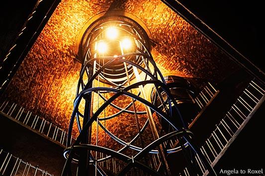 Modern futuristic elevator inside the Astronomical clock tower in the Old Town Square Prague, Czech Republic