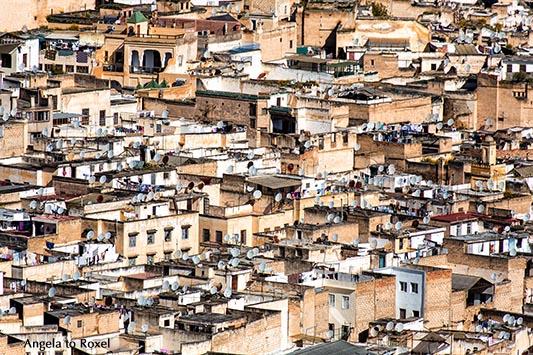 Fotografie: Blick auf die Dächer der Altstadt von Fès von oben, Satellitenschüsseln auf Flachdächern, Marokko 2013, Architektur, Bildlizenz, Stockfoto