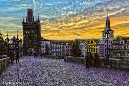 People standing on Charles Bridge by the break of dawn, HDR, tone mapping, surreal look - Prague in winter