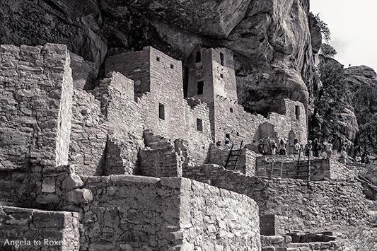 Fotografie: Mesa Verde National Park, Cliff Place, Siedlung der Anasazi in den Felsen auf dem Tafelberg Mesa Verde, monochrom, Nähe Durango - Colorado
