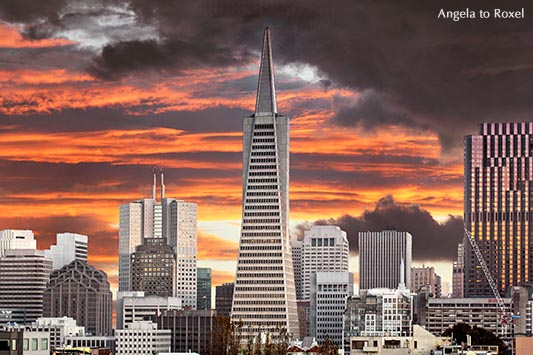 Architektur Bilder kaufen: City of lights, die Skyline von San Francisco mit der Transamerica Pyramid, Wall Street of the West, Sonnenuntergang