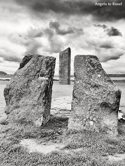 Neolithic monument five miles northeast of Stromness on the mainland of Orkney, black and white - Scotland