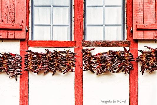 Chili-Schoten, aufgereiht auf langen Schnüren zum Trocknen, leuchtend rot vor einer weiß gekalkten Hauswand im Baskenland, Espelette - Frankreich 2012