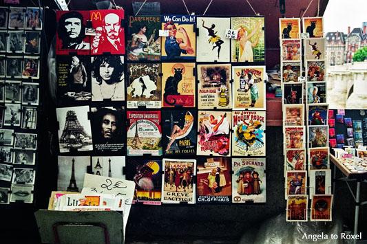 Fotografie: We can do it - Verkaufsstand mit nostalgischen anmutenden Postern, Kunstdrucken und Postkarten am Seine-Ufer, Vintage, Paris 2006