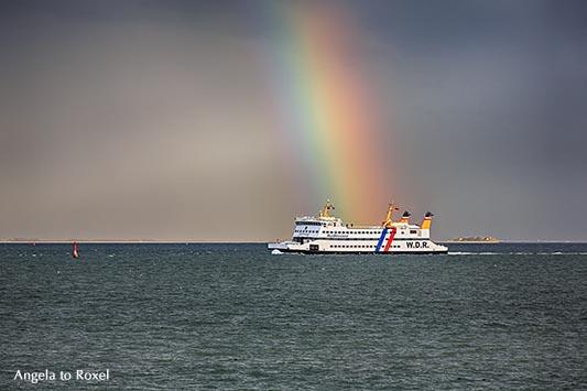 Fotografie: Regenbogenland - Fähre der Wyker Dampfschiffs-Reederei Föhr-Amrum GmbH im Wattenmeer auf dem Weg nach Wyk, dahinter ein großer Regenbogen