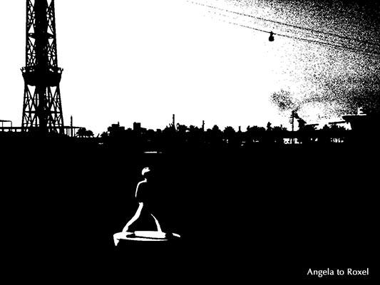 """Urban landscape mit der Boje """"Stargazer"""", schwarzweiß, Port Vell, Barcelona, Katalonien, Spanien - Barcelona 2012"""