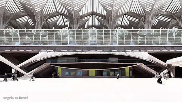 Fotografie: Calatravas Welt - Passanten vor dem Bahnhof Lissabon Oriente, Estação do Oriente, Architekt Santiago Calatrava, abstrakt - Portugal 2016