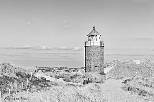 Fotografie: Quermarkenfeuer, alter Leuchtturm in der Dünenlandschaft am Roten Kliff bei Kampen, schwarzweiss, Nordseeinsel Sylt, Bildlizenz, Stockfoto