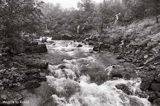 Bach und Wasserfälle entlang des Wanderweges am Trollstigen, monochrome Fotografie | Landschaftsbilder kaufen - Angela to Roxel