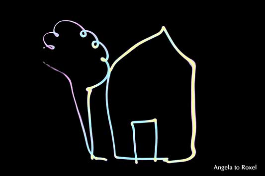 Blacklight Lightpainting, Schwarzlicht Lichtmalerei Home sweet home, Haus und Baum, schwarzer Hintergrund, Kunstfotografie kaufen - Angela to Roxel