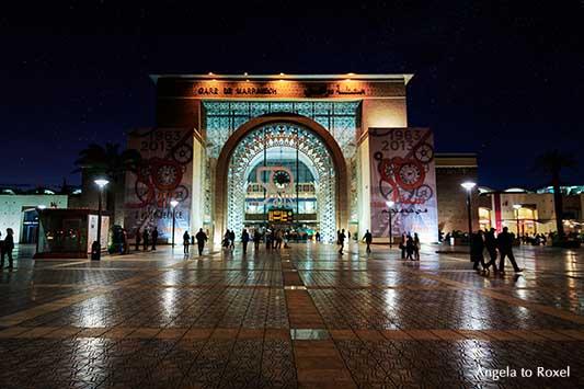 Gare de Marrakech, Marrakesh railway station, Bahnhof in 1001 Nacht, Nachtaufnahme, Marrakesch, Marokko | Architektur Bilder kaufen - Angela to Roxel