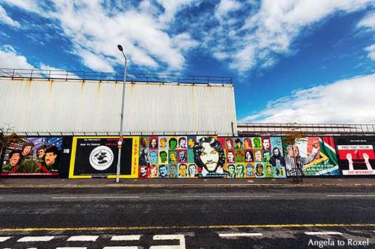 Politische Wandbilder mit dem Hungerstreikenden Francis Hughes und Nelson Mandela, sog. murals auf einer Mauer in Belfast, Nordirland - A. to Roxel